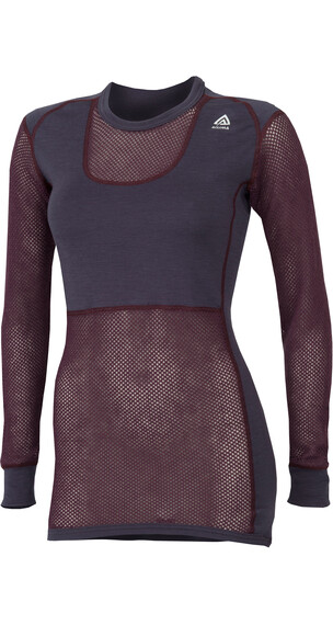 Aclima W's WoolNet Crew Neck Shirt Blackberry Wine/Periscope